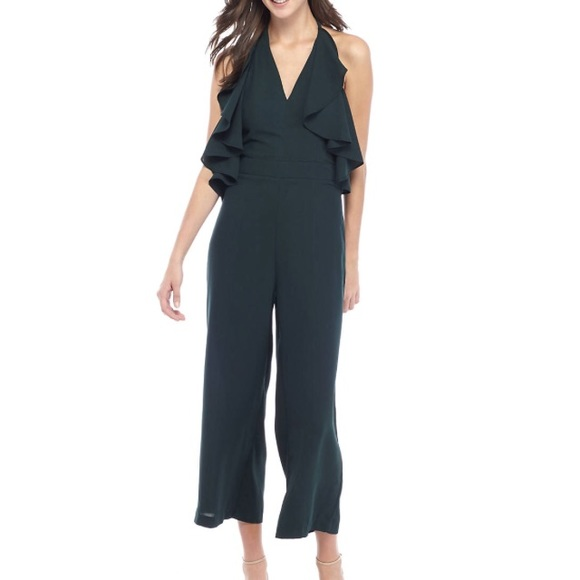 Romeo & Juliet Couture Pants - Green Romeo+Juliet Couture ruffle jumpsuit Medium
